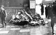Whilst the crash of Do 17Z-1 F1+FH of 1/KG76 at the forecourt of Victoria Station at 12.16 on 15 September 1940 was widely photographed, little attention was paid to Hurricane Mk I TM-B that fell into the roadway nearby at the junction of Ebury Bridge Road with Buckingham Palace Road. While a pile of wreckage was collected from the highway and placed against an adjacent wall to await collection, the crater that contained the RR Merlin III engine was filled in and covered over.