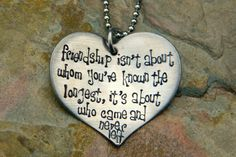 Hand Stamped Large Heart Pendant  Friendship by JoyBelleJewelry, $16.00