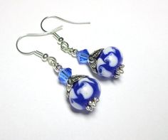 Blue Earrings  White Swirl Lampwork Swarovski by SpiritCatDesigns, $6.99