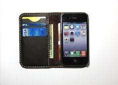 iPhone 4 / 4s Leather Wallet Case. Handmade. by FlyntLeather, $24.00