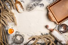 Photo about Flour baking background with raw egg, rolling pin, wheat ear and rustic bake pan. Image of dough, above, background - 56842174 Baking Flour, Baking Pans, Bread Baking, Cake Background, Textured Background, Baking Wallpaper, Rustic Food Photography, Food Template, Bakery Logo