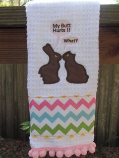 Chocolate Bunny Easter Kitchen Towel