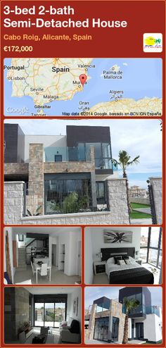 Semi-Detached House for Sale in Cabo Roig, Alicante, Spain Semi Detached, Detached House, Valencia, Portugal, Alicante Spain, Cabo, Villa, Floor Plans, Bed