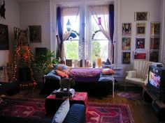 Part of my living room in the 2011 apt. It was so beautiful. I miss having this big of a space. Bohemian decor.