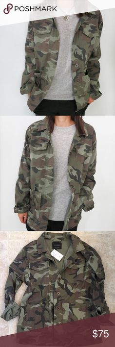 NWT Sanctuary Camo Jacket Versatile and current, the NWT Sanctuary camo jacket is the perfect stylish outerwear to add to your closet.   Available in two sizes, this looks great over the gray merino wool and cashmere blend sweater also available in my closet as seen in the picture! From a smoke free and pet less home. Sanctuary Jackets & Coats