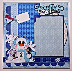 Snowflake Like Home Single Page Scrapbook Layout #scrapbooking101