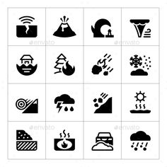 Buy Set Icons of Natural Disaster by moto-rama on GraphicRiver. Set Icons of Natural Disaster Isolated on White Creative Icon, Creative Sketches, Tsunami, Tornado Tattoo, School Icon, Home Icon, Business Icon, Religious Icons, Social Media Icons