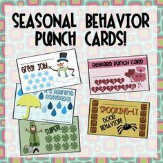 New Product :: Behavior Punch Cards – Seasonal Pack Teacher Boards, Teacher Tools, Teacher Resources, Teacher Stuff, Organization And Management, Classroom Organization, Future Classroom, School Classroom, Classroom Rules