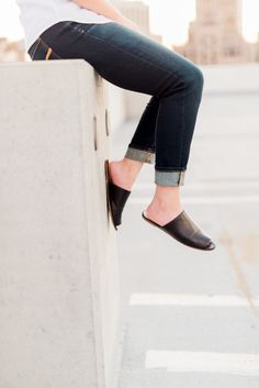 Thuy from lifestyle blog, Dress Up, Chow Down, styles open toe slides by Emerson Fry plus her personal style.