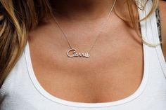 Delicate Name Necklace, Small Name Necklace from Capucinne by DaWanda.com