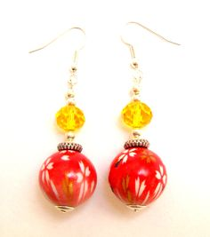 Chunky red & yellow earrings