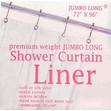 Carnation Home Fashions Jumbo Long Vinyl Shower Curtain Liner 72 Inch By 96