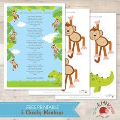 5 Cheeky Monkeys Free Printable