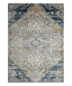 Another great find on #zulily! Navy & Beige Distressed Floral Diamond Rug by Momeni Rugs #zulilyfinds