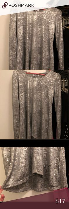 JM Collection Silver Sparkle Blouse Beautiful light weight top suitable for all seasons. Worn only twice. Shimmer in thread and silver sequins add jazz to it. Pair with dark pants for a dressier look or white for summer dressy. High / low hem as pictured. Size large, runs true to size. JM Collection Tops Blouses