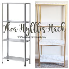 The easiest DIY hack to glam your $14.99 Ikea Hyllis Shelf Unit into marble and gold shelves. Glam home decor on a budget