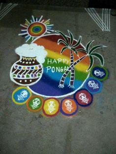 New Year Rangoli, Diwali Rangoli, Simple Rangoli, Rangoli Ideas, Rangoli Designs, Happy Pongal, Padi Kolam, Festivals Of India, Diwali Craft