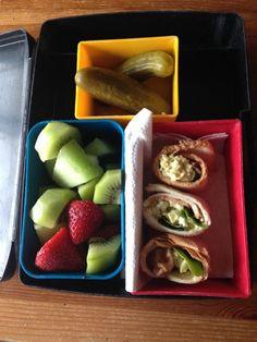 Egg salad & bacon nom noms, honeydew melon, kiwi & strawberry, pickles