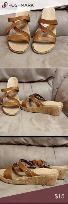 Croc Sandals Worn once in a department store fashion show. Beige crocs with leather straps and a cork wedge. The wedge is 2inches at the heel. CROCS Shoes Sandals