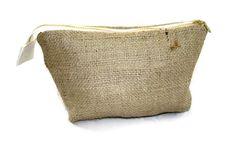 Medium Plain Burlap Makeup Bag or Dopp Kit