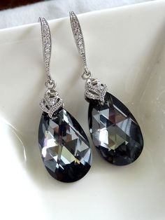 Large Silver Night Swarovski Crystal with White Gold Plated Cubic Zirconia Earrings