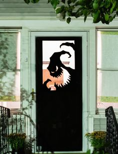 30 Spooky Halloween Door Decorations to Rock This Year Spook your trick-or-treaters with this eerie Oogie Boogie from The Nightmare Before Christmas silhouette DIY Halloween vinyl door decor project. Fröhliches Halloween, Adornos Halloween, Manualidades Halloween, Halloween Designs, Outdoor Halloween, Halloween Disfraces, Holidays Halloween, Halloween Doorway, Halloween Garage Door