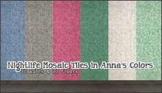 Walls and floors in Anna's lovely palette. Swatch (stolen from Vimpse) is included and files are clearly named for easy pick and choose. Credit goes to Awesims because I used her recolor as base. DOWNLOAD | Alternative