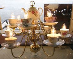 gold teacup candle holder - Google Search