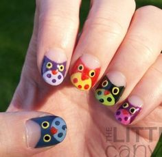Owls in multicolors