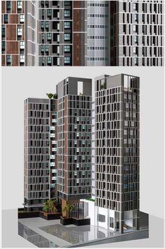 璞園春生生 Colour Architecture, Concept Architecture, Facade Architecture, Residential Architecture, Building Elevation, Building Facade, Building Exterior, Building Design, Minecraft City Buildings