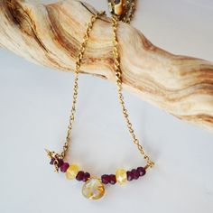 Gemstone Necklace - Rutilated Quartz Necklace - Garnet Necklace - Gold Gemstone Necklace-Simple Garnet Necklace - Gift for Her- by PETALTOMETALJEWELS on Etsy