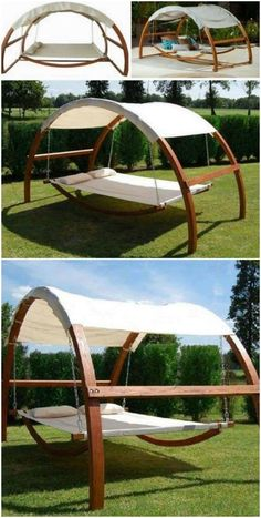 This Swing Hammock Bed Is So Relaxing - Hammock - Ideas of Hammock Diy Hammock, Backyard Hammock, Hammock Swing, Backyard Patio, Backyard Landscaping, Hammock In Bedroom, Outdoor Hammock Bed, Sleeping Hammock, Outdoor Swings