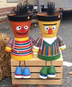 Bert & Ernie Flower Pot People