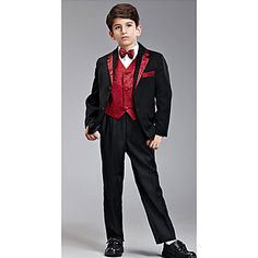 Ring Bearer Outfits Black Ring Bearer Suit with Suspenders (1159090) - USD $ 69.99
