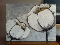 "Sold!! Original Textured Flower Abstract Contemporary abstract Arcrylic Painting on canvas. ""White flowers 10"""