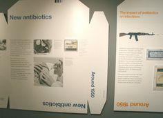 A graphic 'wall' is a series of huge machine-cut flattened pill packs explaining the history of Penicillin at London's Science. By Johnson Banks: http://www.johnsonbanks.co.uk