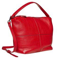 Vistosa borsa rossa per ravvivare anche un abbigliamento molto semplice. Il manico corto è decorato con vistose cuciture e la borsa può essere comodamente portata sull'avambraccio o sulla spalla. Questo modello è ideale per il lavoro o per il tempo libero e può essere abbinato ad un abbigliamento elegante o ai jeans e una maglietta bianca. La borsa è dotata anche di una cinghia rimovibile per poter essere portata sulla spalla.
