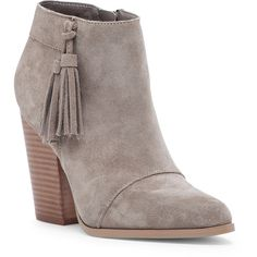 Sole Society Talisha Tassel Heeled Bootie ($100) ❤ liked on Polyvore featuring shoes, boots, ankle booties, taupe, high heel booties, suede high heel boots, taupe ankle boots, suede boots and suede ankle booties