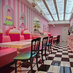 Cupcake store dreams!!  Love the strips on walls this would look good in my daughters room she loves everything cupcake.