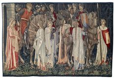 In 1907, 3 panels of the Quest for the Holy Grail Tapestries were purchased & presented to the collection by subscribers - Quest for the Holy Grail Tapestry - The Arming and Departure of the Knights, Edward Burne-Jones, William Morris, John Henry Dearle, 1895-6 #bmag130