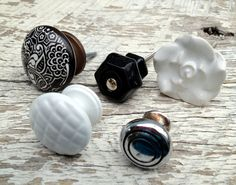 Eclectic Collection of 6 (Six) Knobs / Black, White and Chrome / Ceramic, Metal, Milkglass. $24.95, via Etsy.