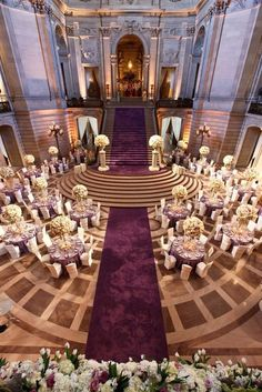 Photo: WMR Photography via Wildflower Linens; A spectacular aerial view of this glorious purple wedding reception!