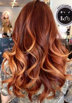 Ginger Hair Color, Hair Color Caramel, Ombre Hair Color, Hair Color Balayage, Cool Hair Color, Caramel Ombre, Blonde Balayage, Auburn Balayage, Hair Color With Red
