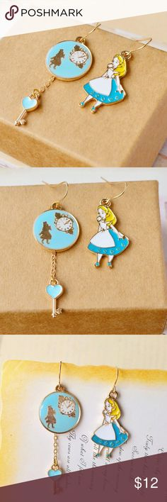 Mix& match Romantic Alice In Wonderland earrings Handmade Fantasy Mix& match Romantic Alice In Wonderland Girl Charm Enamel Glaze Metal Drop Earrings. Super cute. Perfect for Gifts or self. Jewelry Earrings