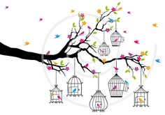 Spring tree branch with birds and birdcages digital por Illustree, $5.00