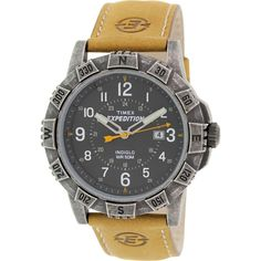 Timex Men's Expedition T49991 Brown Leather Analog Quartz Watch