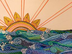 Doodle Art Ocean Sunrise by Dianna LeRoy