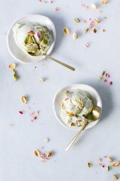 Cardamom Pistachio Ice Cream with Rose Marzipan Swirl