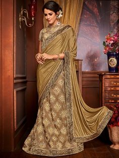 Stylish Golden And Beige Color Net And Jacquard Embroidered Party Wear Lehenga Style Saree Stylish Golden And Beige Color Net And Jacquard Embroidered Party Wear Lehenga Style Saree Look striking and stunning afler wearing this golden and beige color imp Lehenga Style Saree, Party Wear Lehenga, Lehenga Saree, Silk Sarees, Saris, Bollywood Designer Sarees, Designer Sarees Online, Heavy Lehenga, Bollywood Outfits