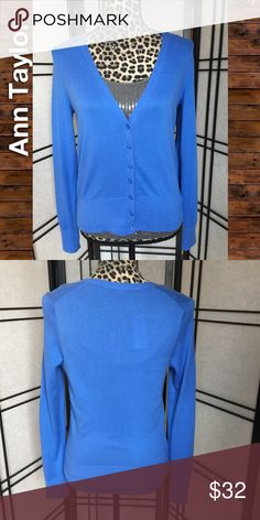 """NWT Cardigan, Ann Taylor, Size Small This cardigan is a gorgeous cornflower blue. Full length sleeves, detailing on hem makes unique from your everyday cardi. 100% cotton. Approx width is 17"""" and length 21.5"""". Item is new with tags. Please feel free to ask questions or bundle for the best savings. I do not trade but I do ship same or next day. Thank you! ☺️ Ann Taylor Sweaters Cardigans"""